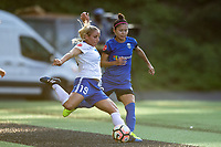 Seattle, WA - Saturday July 15, 2017: Adriana Leon, Nahomi Kawasumi during a regular season National Women's Soccer League (NWSL) match between the Seattle Reign FC and the Boston Breakers at Memorial Stadium.