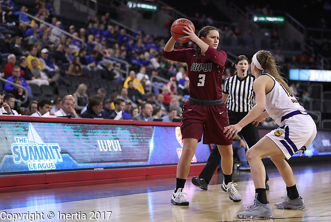 SIOUX FALLS, SD: MARCH 7: Kelsi Byrd #3 of IUPUI looks past Western Illinois defender Mallory Boyle #10 during the Women's Summit League Basketball Championship Game on March 7, 2017 at the Denny Sanford Premier Center in Sioux Falls, SD. (Photo by Dick Carlson/Inertia)