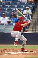 Clearwater Threshers left fielder Adam Haseley (17) at bat during a game against the Tampa Tarpons on April 22, 2018 at George M. Steinbrenner Field in Tampa, Florida.  Clearwater defeated Tampa 2-1 (Mike Janes/Four Seam Images)