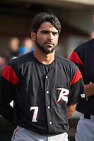 Richmond Flying Squirrels second baseman Ali Castillo (7) during the national anthem before a game against the Erie SeaWolves on May 27, 2016 at Jerry Uht Park in Erie, Pennsylvania.  Richmond defeated Erie 7-6.  (Mike Janes/Four Seam Images)