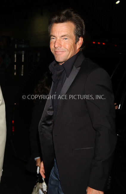 WWW.ACEPIXS.COM . . . . .  ....**EXCLUSIVE - Fee must be agreed before use**....November 22 2005, New York City....Actor Dennis Quaid arriving at the David Letterman show.....Please byline: AJ Sokalner - ACE PICTURES..... *** ***..Ace Pictures, Inc:  ..Philip Vaughan (212) 243-8787 or (646) 769 0430..e-mail: info@acepixs.com..web: http://www.acepixs.com