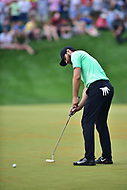 Bethesda, MD - July 2, 2017:Kyle Stanley sinks his putt for the win during the playoff round against Charles Howell III at the Quicken Loans National Tournament at TPC Potomac at Avenel Farm in Bethesda, MD.  (Photo by Phillip Peters/Media Images International)