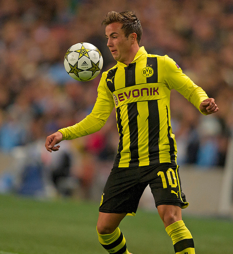 Borussia Dortmund's Mario Gotze ..Football - UEFA Champions League Group D - Manchester City v Borussia Dortmund - Wednesday 3rd October 2012 -  Etihad Stadium - Manchester..