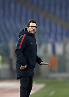 Calcio, Serie A: AS Roma - Sampdoria, Roma, stadio Olimpico, 28 gennaio 2018. <br /> Roma's coach Eusebio Di Francesco gestures during the Italian Serie A football match between AS Roma and Sampdoria at Rome's Olympic stadium, January 28, 2018.<br /> UPDATE IMAGES PRESS/Isabella Bonotto