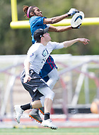 """Washington, DC - APR 22, 2018: DC Breeze Delrico Johnson (3) catches a touchdown during AUDL game between DC Breeze and the Ottawa Outlaws. The DC Breeze get the win 26-19 over Ottawa in the Battle of the Capitals"""" at Catholic University Washington, DC. (Photo by Phil Peters/Media Images International)"""