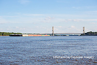 65095-02307 Barge on Mississippi River and Bill Emerson Memorial Bridge Cape Girardeau, MO