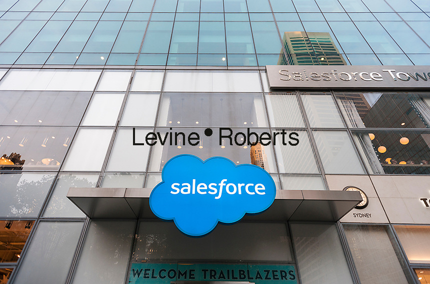 """The offices of Salesforce, a cloud-computing company, are seen in Midtown Manhattan in New York on Tuesday, May 9, 2017. The cloud based business is taking space in the MetLife building, aka 3 Bryant Park, and the office tower, originally the New York Telephone (Verizon) building, will be rebranded as the """"Salesforce Tower"""". (© Richard B. Levine)"""