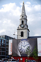 The Church of St George the Martyr, Borough High Street. in the London Borough of Southwark, on  at the junction of Long Lane, Marshalsea Road, and Tabard Street. It opened in 1736 and is undergoing restoration work and has adverts for Omega watches on the hoardings.  Charles Dickens set several scenes of his novel Little Dorrit in and around St George's Church. <br /> London, England, UK on June 02, 2018.<br /> CAP/SDL<br /> &copy;Stephen Loftus/Capital Pictures