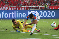 CALI-COLOMBIA , 07-12-2019.Acción de juego entre los equipos América de  Cali y el Atlético Junior durante partido por la final de la Liga Águila II 2019 jugado en el estadio Pascual Guerrero de la ciudad de Cali./ Action game between teams America de Cali   and Atletico Junior during the final match for the Aguila League II 2019 played at Pascual Guerrero stadium in Cali city. Photo: VizzorImage/ Felipe Caicedo / Staff