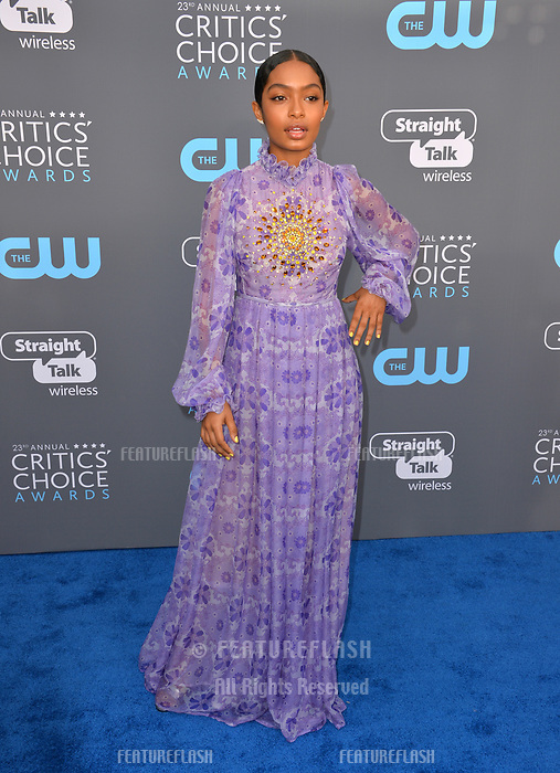 Yara Shahidi at the 23rd Annual Critics' Choice Awards at Barker Hangar, Santa Monica, USA 11 Jan. 2018<br /> Picture: Paul Smith/Featureflash/SilverHub 0208 004 5359 sales@silverhubmedia.com