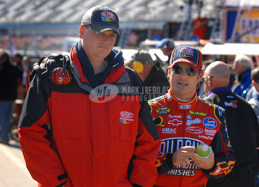 Feb 16, 2007; Daytona, FL, USA; Nascar Nextel Cup Series driver Jeff Gordon (24) with crew chief Steve Letarte during practice for the Daytona 500 at Daytona International Speedway. Mandatory Credit: Mark J. Rebilas