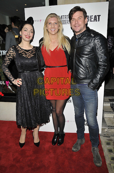LONDON, ENGLAND - JANUARY 16: Tonia Buxton &amp; Rebecca Adlington &amp; Phil Turner attend the Russell Marshall: 40 - A Kate Moss Retrospective exhibition private view, Imitate Modern Gallery, Devonshire St., on Thursday January 16, 2014 in London, England, UK.<br /> CAP/CAN<br /> &copy;Can Nguyen/Capital Pictures