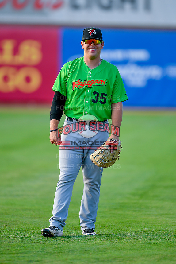 Corey Zangari (35) of the Great Falls Voyagers before the game against the Ogden Raptors in Pioneer League action at Lindquist Field on August 18, 2016 in Ogden, Utah. Ogden defeated Great Falls 10-6. (Stephen Smith/Four Seam Images)