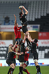 Ospreys flanker Tyler Ardron wins the line out ball.<br /> RaboDirect Pro12<br /> Ospreys v Munster<br /> Liberty Stadium<br /> 23.02.14<br /> <br /> ©Steve Pope-SPORTINGWALES