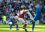 Hearts v St Johnstone...14.08.10  .Sam Parkin stoops low to head in Cleveland Taylor's cross to make it 1-1.Picture by Graeme Hart..Copyright Perthshire Picture Agency.Tel: 01738 623350  Mobile: 07990 594431