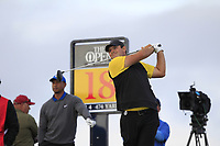 Patrick Reed (USA) on the 18th teeduring 1st round of the 148th Open Championship, Royal Portrush golf club, Portrush, Antrim, Northern Ireland. 18/07/2019.<br /> Picture Thos Caffrey / Golffile.ie<br /> <br /> All photo usage must carry mandatory copyright credit (© Golffile | Thos Caffrey)