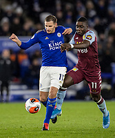 Leicester City's Marc Albrighton competing with Aston Villa's Marvelous Nakamba (right) <br /> <br /> Photographer Andrew Kearns/CameraSport<br /> <br /> The Premier League - Leicester City v Aston Villa - Monday 9th March 2020 - King Power Stadium - Leicester<br /> <br /> World Copyright © 2020 CameraSport. All rights reserved. 43 Linden Ave. Countesthorpe. Leicester. England. LE8 5PG - Tel: +44 (0) 116 277 4147 - admin@camerasport.com - www.camerasport.com