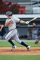 Jeff Campbell (39) of the Danville Braves follows through on his swing against the Burlington Royals at Burlington Athletic Park on July 12, 2015 in Burlington, North Carolina.  The Royals defeated the Braves 9-3. (Brian Westerholt/Four Seam Images)