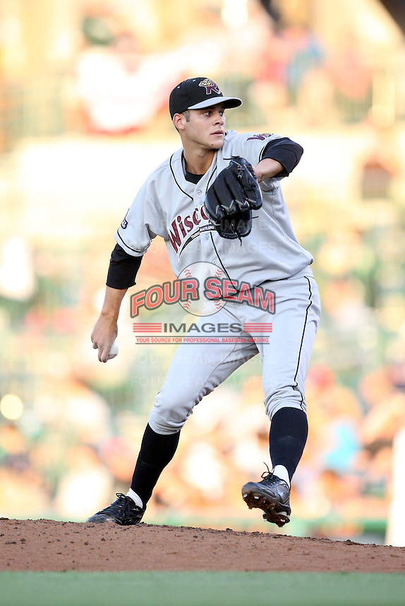 Wisconsin Timber Rattlers Nick Bucci during the Midwest League All Star Game at Parkview Field in Fort Wayne, IN. June 22, 2010. Photo By Chris Proctor/Four Seam Images