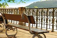 Vltava embankment bench near river Vltava