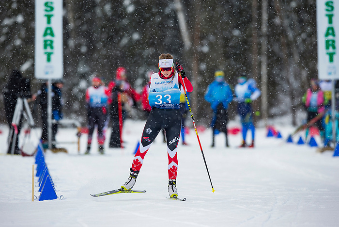 Prince George, B.-C., 16 February/2019  - Emily Young competes in the women's standing middle distance biathlon on day 01 of the 2019 World Para Nordic skiing Championships in Prince George, B.C. Photo Bob Frid/Canadian Paralympic Committee.