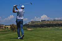 Thomas Bjorn (DEN) on the 8th tee during Round 3 of the Rocco Forte Sicilian Open 2018 played at Verdura Resort, Agrigento, Sicily, Italy on Saturday 12th May 2018.<br /> Picture:  Thos Caffrey / www.golffile.ie<br /> <br /> All photo usage must carry mandatory copyright credit (&copy; Golffile | Thos Caffrey)