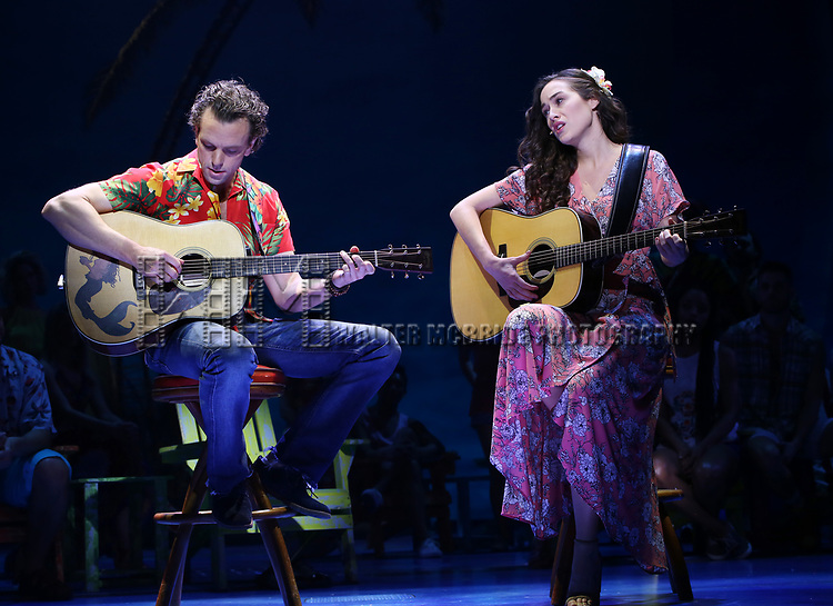 Paul Alexander Nolan and Alison Luff during the Press Sneak Peak for the Jimmy Buffett  Broadway Musical 'Escape to Margaritaville' on February 15, 2018 at the Marquis Theatre in New York City.