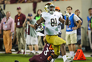 Blacksburg, VA - October 6, 2018: Notre Dame Fighting Irish wide receiver Miles Boykin (81) scores a touchdown during the game between Notre Dame and VA Tech at  Lane Stadium in Blacksburg, VA.   (Photo by Elliott Brown/Media Images International)