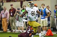 Blacksburg, VA - October 6, 2018: Notre Dame Fighting Irish wide receiver Miles Boykin (81) scores a touchdown during the game between Notre Dame and VA Tech at  Lane Stadium in Blacksburg, VA.   (Photo by Elliott Brown/Media Images International)