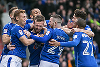 Oldham Athletic's Cameron Dummig celebrates scoring his side's first goalduring the Sky Bet League 1 match between Oldham Athletic and Rochdale at Boundary Park, Oldham, England on 18 November 2017. Photo by Juel Miah/PRiME Media Images