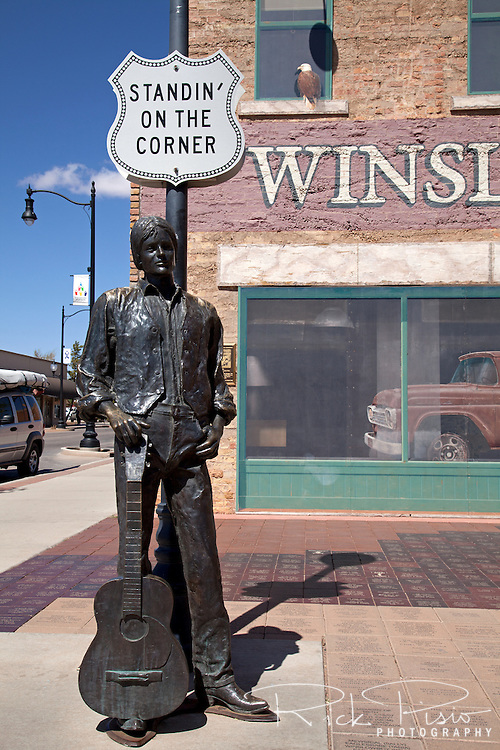 After Interstate 40 bypassed Winslow in the late 1970's, and Route 66 was removed from the maps, Winslow had seen a steady decline. In 1997, after their success in restoring the historic La Posada Hotel, business leaders gathered together to design and build a park in downtown Winslow that paid tribute to the Jackson Browne &amp; Glenn Frey lyrics in the song &quot;Take it Easy&quot; and it was decided to build a park in Winslow's downtown area. <br />