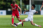 Torres Sartori Igor (L) of Wofoo Tai Po fights for the ball with Kwok Wai Leung (R) of Dreams FC during the Dreams FC vs Wofoo Tai Po match of the week one Premier League match at the Aberdeen Sports Ground on 26 August 2017 in Hong Kong, China. Photo by Yu Chun Christopher Wong / Power Sport Images