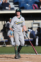 Hunter Hope #16 of the Tulane Green Wave bats during a game against the Pepperdine Waves at Eddy D. Field Stadium on March 13, 2015 in Malibu, California. Tulane defeated Pepperdine, 9-3. (Larry Goren/Four Seam Images)