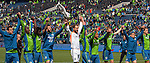 After the game the Seattle Sounders line up to salute their fans after their 4-1 win over the Colorado Rapids during an MLS match on April 26, 2014 in Seattle, Washington.  The Seattle Sounders beat the Colorado Rapids 4-1.  Jim Bryant Photo. ©2014. All Rights Reserved.
