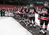 The Northeastern Huskies wait to head onto the ice. - The University of New Hampshire Wildcats defeated the Northeastern University Huskies 5-3 (EN) on Friday, January 8, 2010, at Fenway Park in Boston, Massachusetts as part of the Sun Life Frozen Fenway doubleheader.