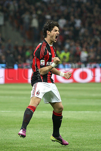 02 04 2011  Series A. AC  Milan versus Inter Milan.  Pato celebrates his first goal