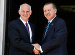 Greek Prime Minister GEORGE PAPANDREOU meets with Turkish Prime Minister RECEP TAYYIP ERDOGAN. Turkish Prime Minister RECEP TAYYIP ERDOGAN with his wife EMINE ERDOGAN ten ministers and a great number of businessmen visit Athens Greece.