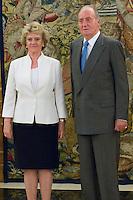 30.07.2012. King Juan Carlos I of Spain attends the audience with Soledad Becerril Bustamante, Defender of the People, at the Royal Palace of La Zarzuela. In the image Soledad Becerril Bustamante and King Juan Carlos (Alterphotos/Marta Gonzalez) *NortePhoto.com<br /> <br />  **CREDITO*OBLIGATORIO** *No*Venta*A*Terceros*<br /> *No*Sale*So*third* ***No*Se*Permite*Hacer Archivo***No*Sale*So*third*&copy;Imagenes*con derechos*de*autor&copy;todos*reservados*.<br /> El uso de las imagenes est&aacute; sujeta de pago a  nortephoto.com