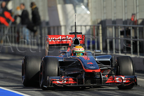 22.02.2012 Barcelona Spain. Formula One testing, day 2.Lewis Hamilton on track in his McLaren