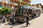 04.07.2019, Posthotel, Zell am Ziller, AUT, TL Werder Bremen - Posthotel Ankunft Tag 00<br /> <br /> im Bild / picture shows <br /> <br /> Der Bus kommt vor dem Mannschaftshotel im Zell am Ziller an<br /> <br /> Foto © nordphoto / Kokenge