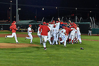Orem Owlz rush the field after defeating the Billings Mustangs in Game 2 of the Pioneer League Championship at Home of the Owlz on September 16, 2016 in Orem, Utah. Orem defeated Billings 3-2 and are the 2016 Pioneer League Champions. (Stephen Smith/Four Seam Images)