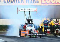 Feb 6, 2015; Pomona, CA, USA; NHRA top fuel driver Clay Millican during qualifying for the Winternationals at Auto Club Raceway at Pomona. Mandatory Credit: Mark J. Rebilas-