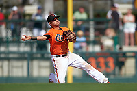 Baltimore Orioles shortstop Paul Janish (15) throws to second base during a Spring Training game against the Minnesota Twins on March 7, 2016 at Ed Smith Stadium in Sarasota, Florida.  Minnesota defeated Baltimore 3-0.  (Mike Janes/Four Seam Images)
