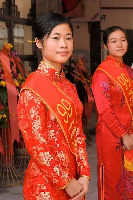 Greeters at Chinese version of Walmart in Yangshou, China