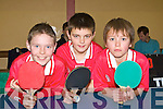 BEST SHOT: Dylan Hennerbry, Colin Griffin and Sean Fitzmaurice (St Brendan's Listellick) who played in the Kerry Table Tennis Community Games final in St Mary's Hall, Killarney on Sunday.