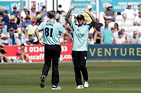 Rikki Clarke of Surrey celebrates taking the wicket of Ryan ten Doeschate during Essex Eagles vs Surrey, Vitality Blast T20 Cricket at The Cloudfm County Ground on 5th August 2018