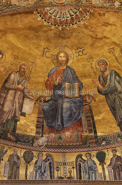 Christ flanked by the Apostles Peter, Paul, Andrew and Luke, Apse mosaic (1220) made by Venetian artists. Basilica Papale di San Paolo fuori le Mura (Basilica of Saint Paul Outside the Walls), 4th century, totally restored after a great fire in 1823, shrine of Saint Paul, Rome, Italy. Picture by Manuel Cohen