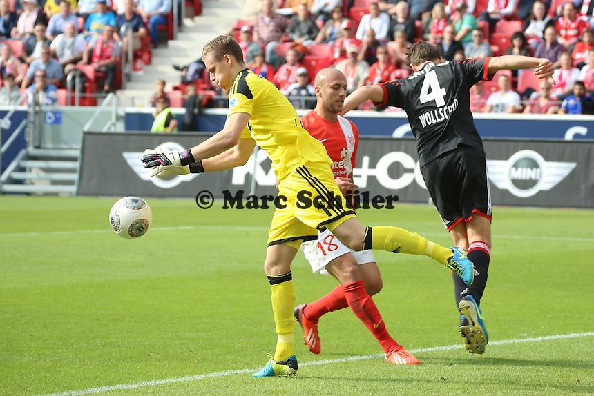 Bernd Leno (Bayer) haelt- 1. FSV Mainz 05 vs. Bayer 04 Leverkusen, Coface Arena, 6. Spieltag