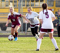 Westside Eagle Observer/RANDY MOLL<br /> Gentry junior Emmi Hays moves the ball toward the goal during play against visiting Huntsville on March 3.