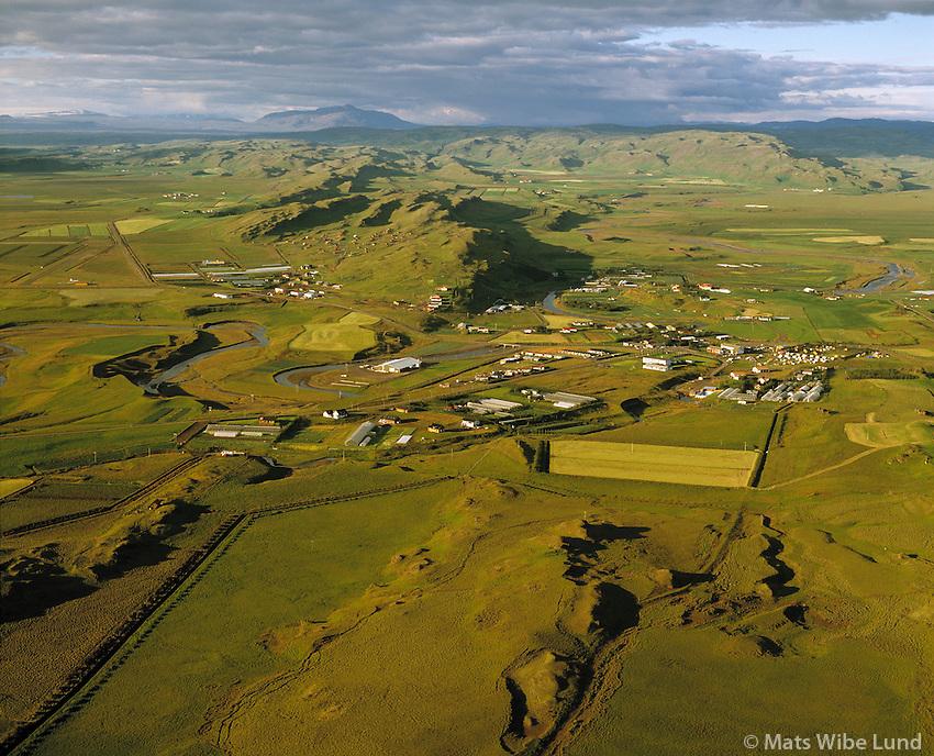 Flúðir séð til norðurs, Hrunamannahreppur.Fludir viewing north, Hrunamannahreppur